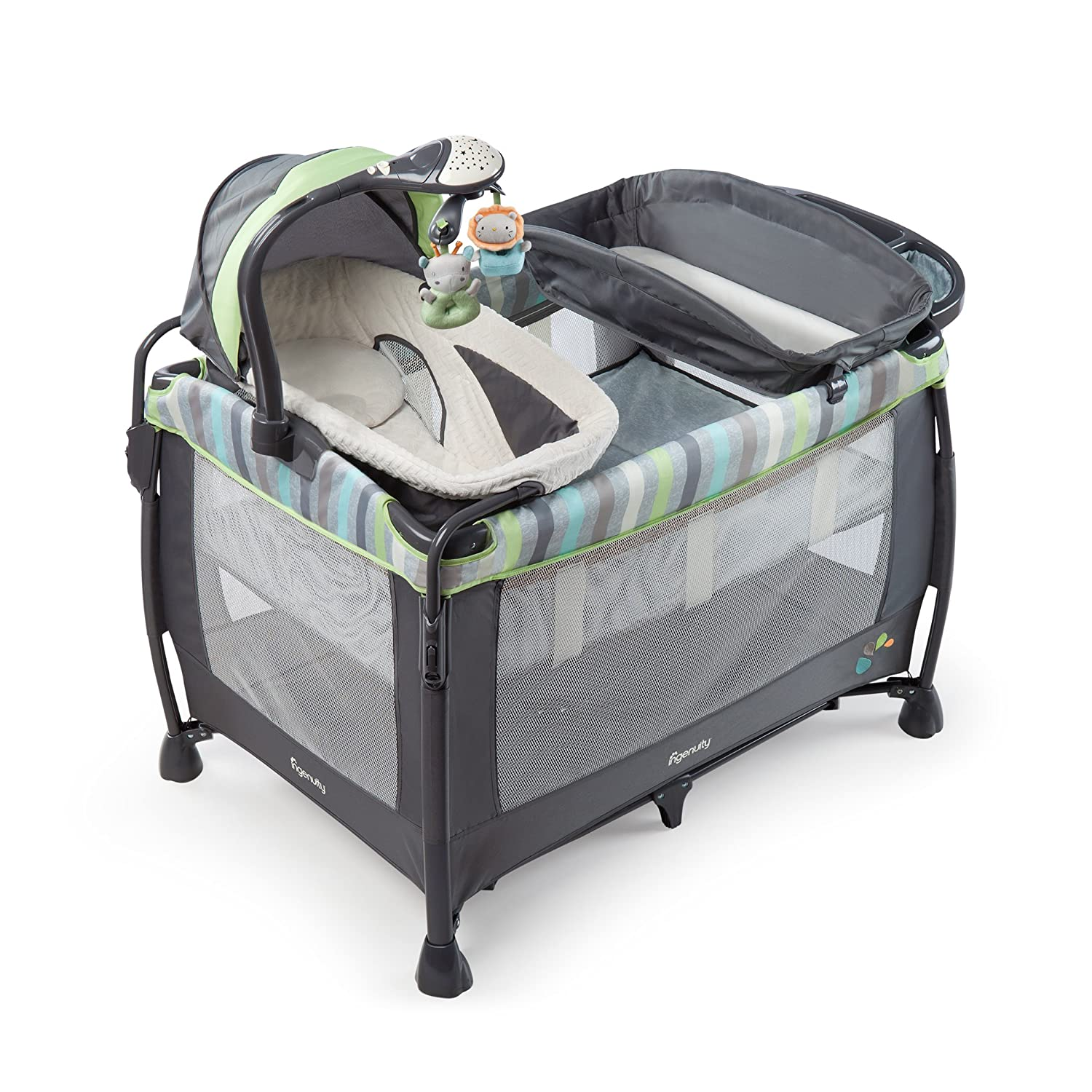 Buy Ingenuity Smart And Simple Deluxe Playard Vesper Grey Online At Bright Starts Smartbounce Automatic Bouncer Winslow Low Prices In India