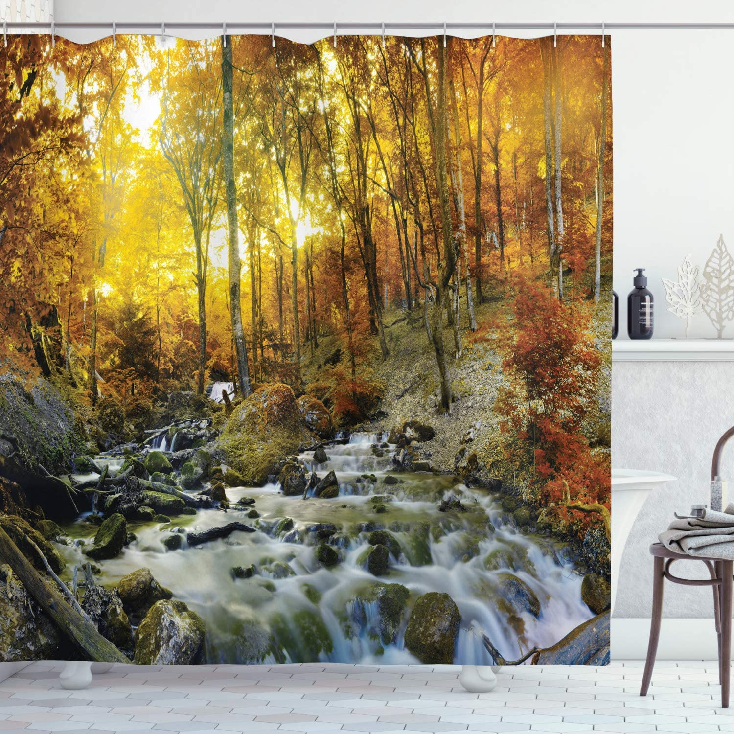 Nature Shower Curtain Riverbed Rocks Trees Print for Bathroom