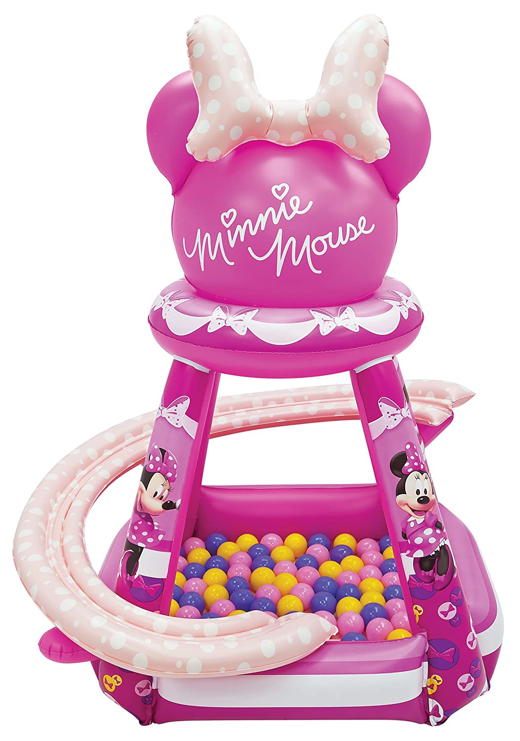 Minnie Mouse Buttons and Bows Ball Pit, 1 Inflatable & 50 Sof-Flex Balls, Pink, 43 W x 43 D x 38 H Walt Disney 3315