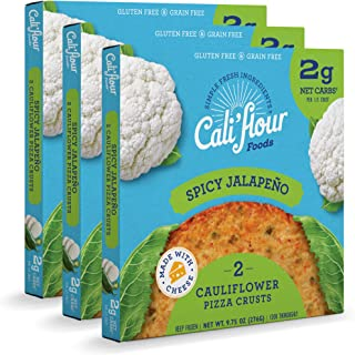 product image for Cali'flour Foods Pizza Crust (Spicy Jalapeno, 3 Boxes, 6 Crusts) - Fresh Cauliflower Base | Low Carb, High Protein, Gluten and Grain Free | Keto Friendly