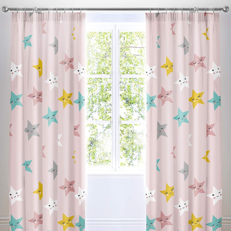 Happy Stars Cosatto 66 Width X 72 Drop 168 X 183Cm Pair of Pencil Pleat Curtains in Pink