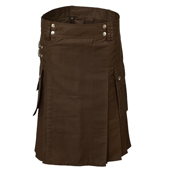 Marrón Chocolate Hombre Moderno Deporte Utilidad Kilt LUJO Kilt ajustable   Amazon.es  Ropa y accesorios ffd8160acc19