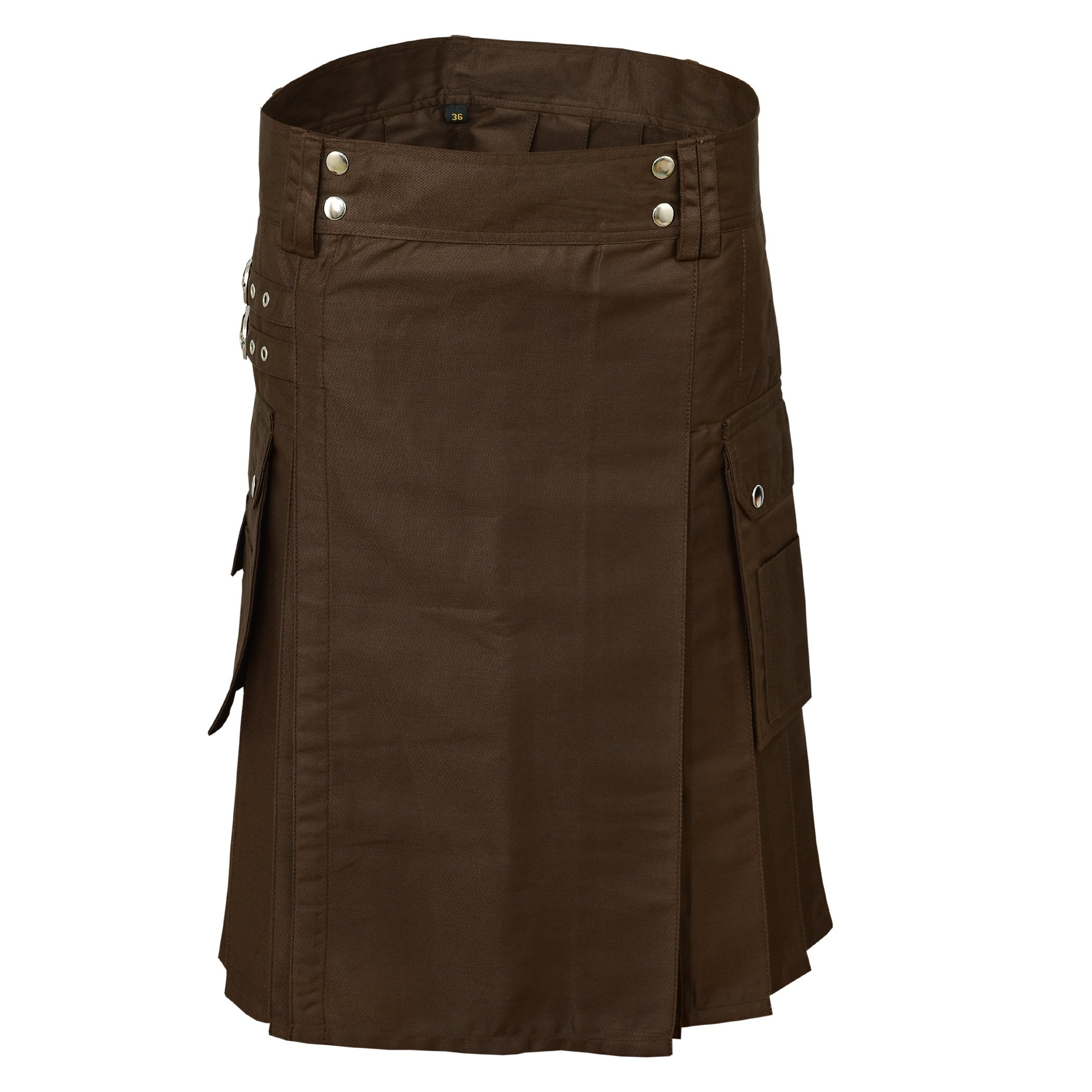 Chocolate Brown Men Leather Straps Fashion Sport Utility Kilt Deluxe Kilt Adjustable Sizes (40'')