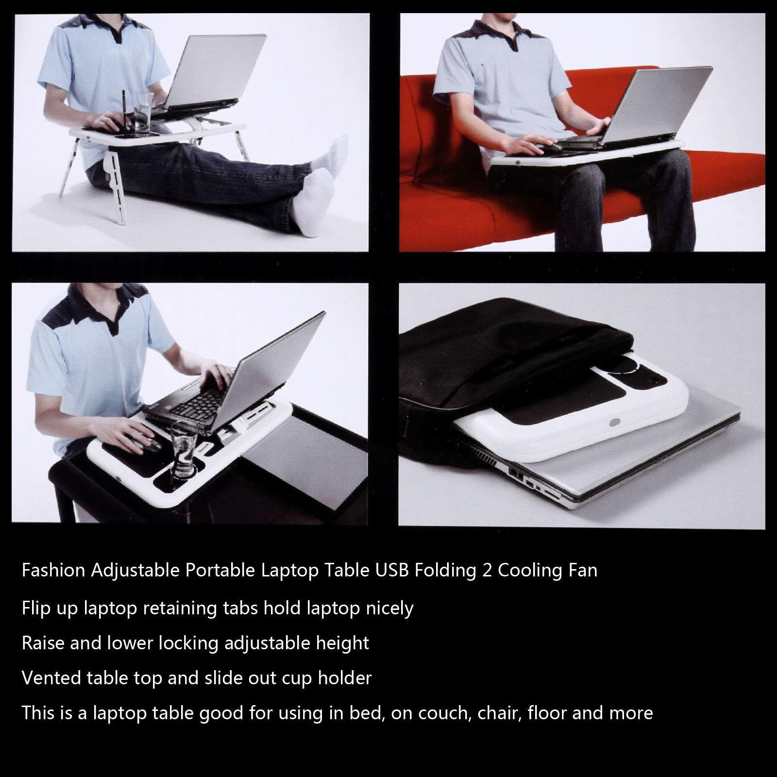 Folding Lap Desk Adjustable Laptop Table for Home, Bed with 2 Cooling Fans, Mouse Pad, Drink Holder and Pen Holder
