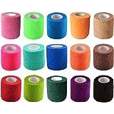 "KISEER 15 Pack 2"" x 5 Yards Self Adhesive Bandage Assorted Color Breathable Cohesive Bandage Wrap Rolls Elastic Self…"