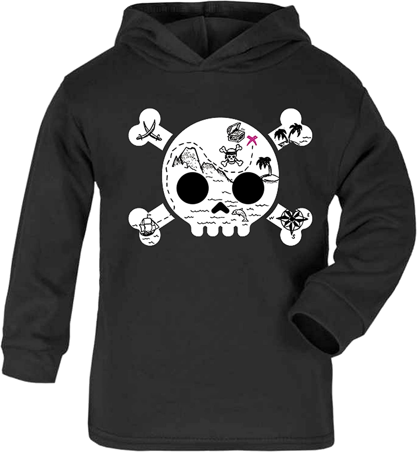 Treasure Island Skull Childrens Hoodie Toddler Hoody Kids Sweatshirt Pirate Novelty Kidswear Ahoy Skull 1-2 Years, Black