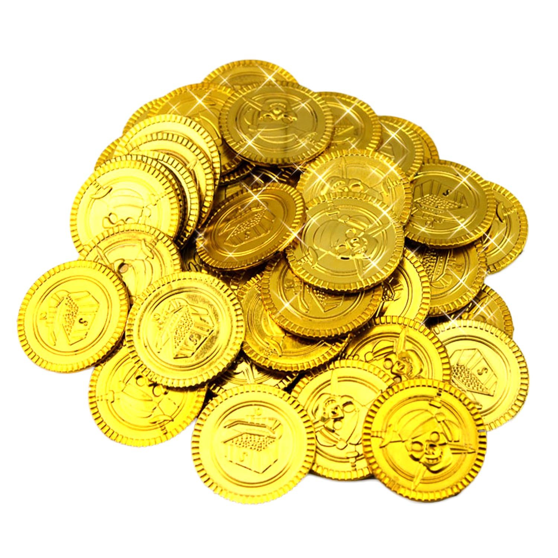 ゴールドコイン、おもちゃmigavenn Gold Coinsプラスチック再生ゴールドコインToys for Kids Children Oy FakeゴールドコインゲームハロウィンStパーティーSupplies 100個   B07DW4PSJ8