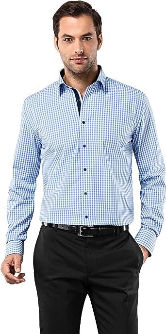 Vincenzo Boretti Camisa de Hombre, Corte Ajuste Recto (Regular-fit), 100% algodón, Manga-Larga, Cuello Kent, Lisa - no Necesita Plancha: Amazon.es: Ropa y accesorios