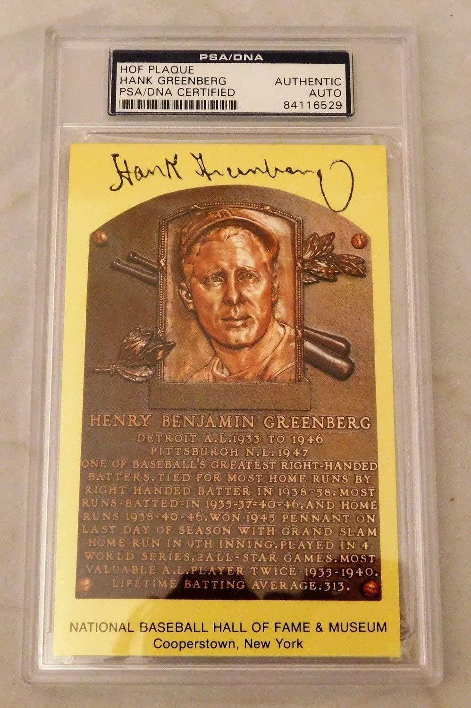 Hank Greenberg Autographed Signed/Autographed Autographed Signed Hof Plaque Postcard PSA/DNA Slabbed