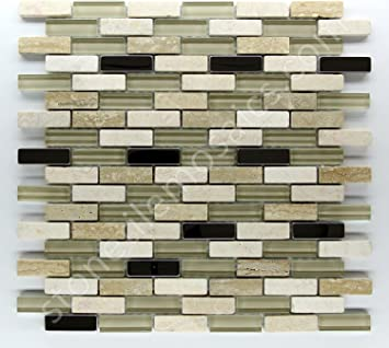 12x12 Vogue Premium Quality White Carrara Gray Glass Mixed Mosaic Tile for Backsplash and Bathroom Wall Designed in Italy