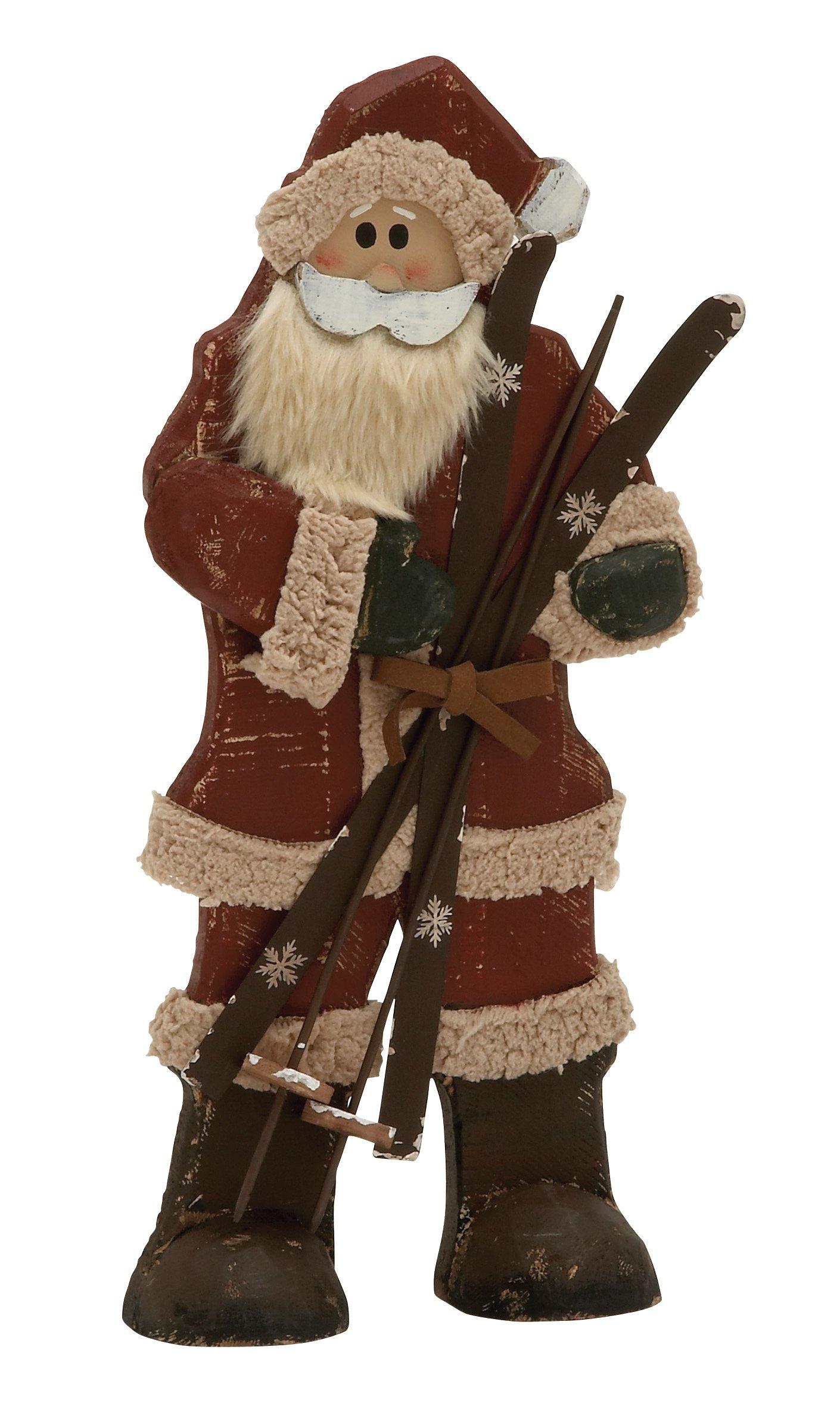 Plutus Brands Spectacular Wood Metal Santa, 9 by 19''
