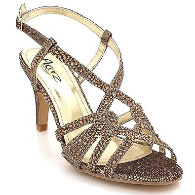 ae1a25254ef673 Femmes Dames Brillant Cristal Diamante Soir Mariage Fête De mariée Bal de  Sangle de Cheville Talon Haut Sandales Chaussures Taille: Amazon.fr:  Chaussures et ...