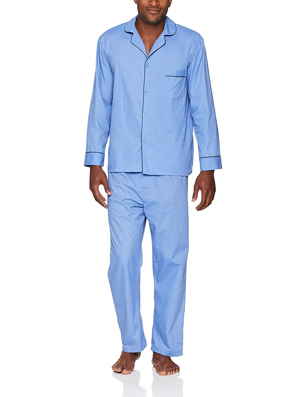71195b5e1864 Amazon.com  Hanes Men s Woven Plain-Weave Pajama Set  Clothing