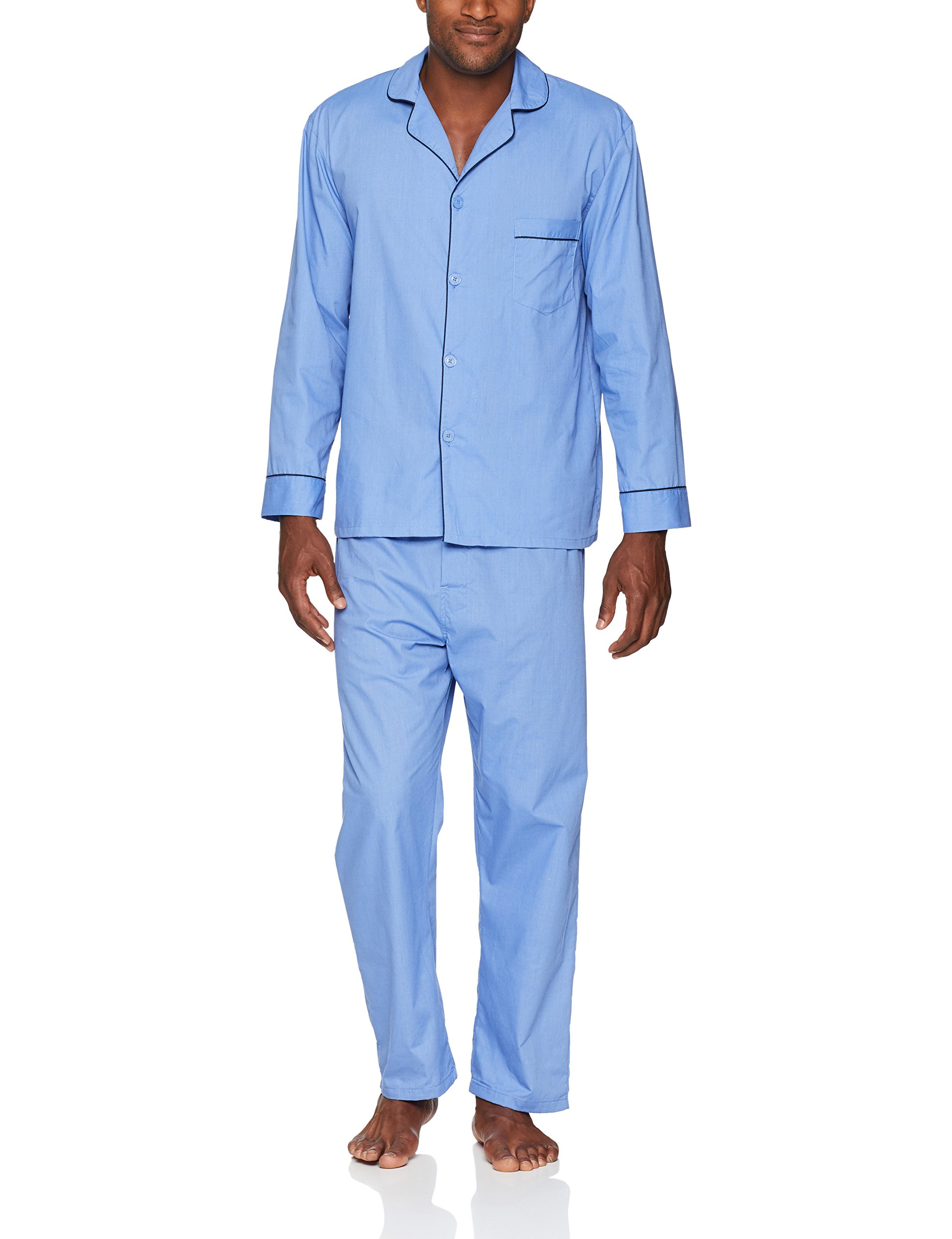 Hanes Men's Long Sleeve Leg Pajama Gift Set, Blue, Large, Medium Blue Solid, Large by Hanes