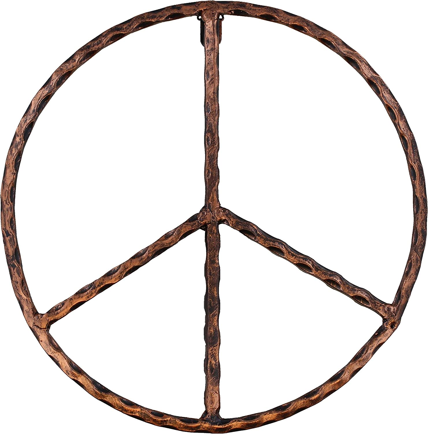 "Old River Outdoors Metal Peace Sign Wall Decor Art - 12"" Rustic Hippie Plaque"