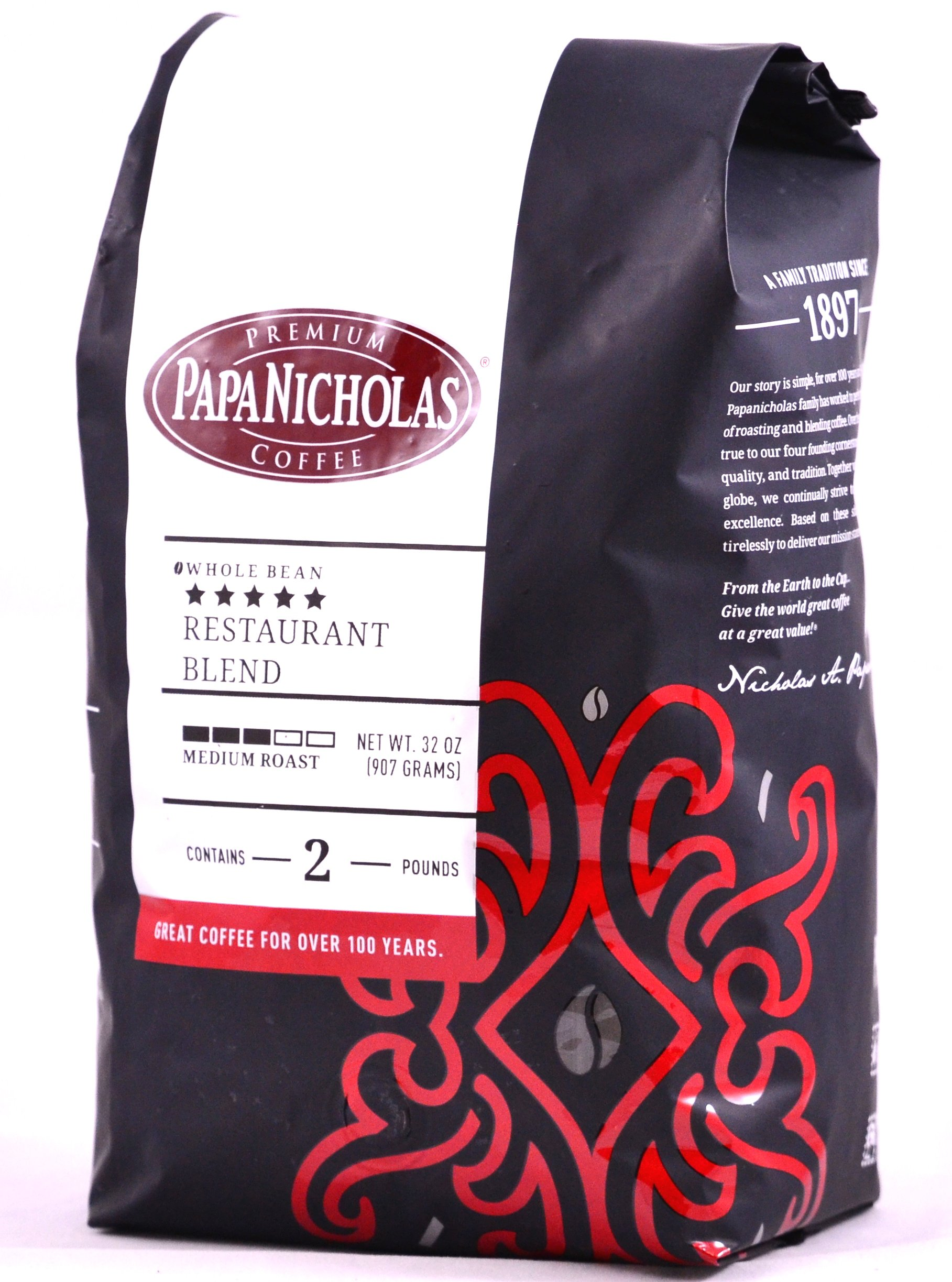 PapaNicholas Coffee Whole Bean Coffee, 5-star Restaurant Blend, 2 Pound