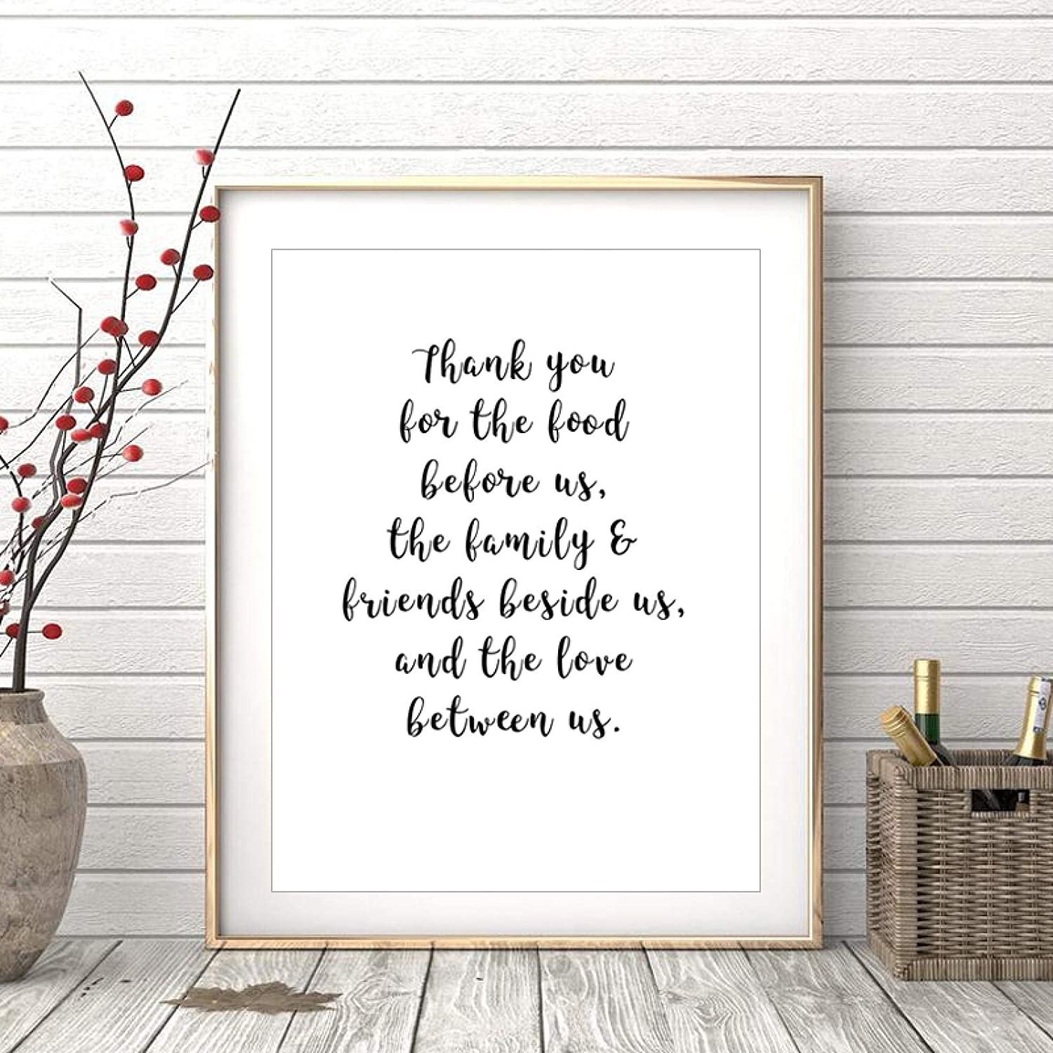 Thank You for The Food Before Us Kitchen Decor Canvas Paintings Black and White POP Wall Art Posters Pictures Home Decoration-50x70cmx1 No Frame