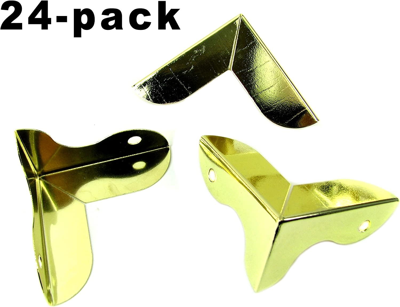 "Shiny Gold Large /""Art Deco/""-style Decorative Box Corners with Screws 8pc"