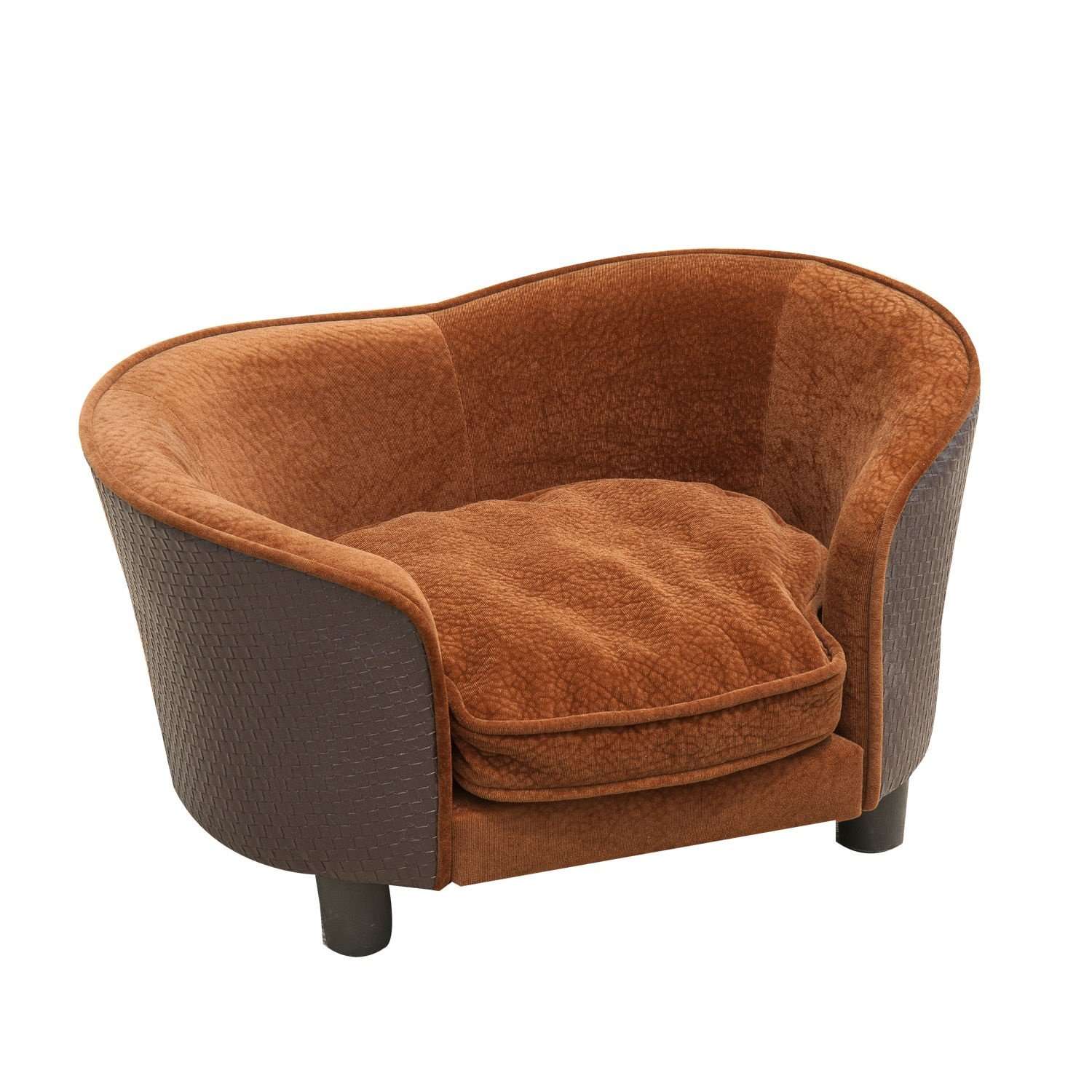 Brown Rattan Embossed Design Plush Pets Lounge Sofa Bed Eco Friendly w  Washable Cushion