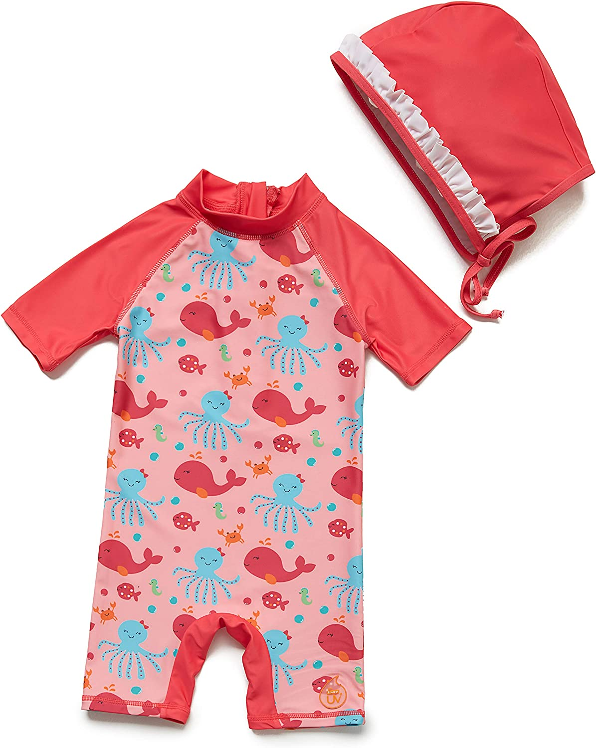 Sun Protection Sunsuit BONVERANO One Piece Swimsuit for Baby Girls UPF50