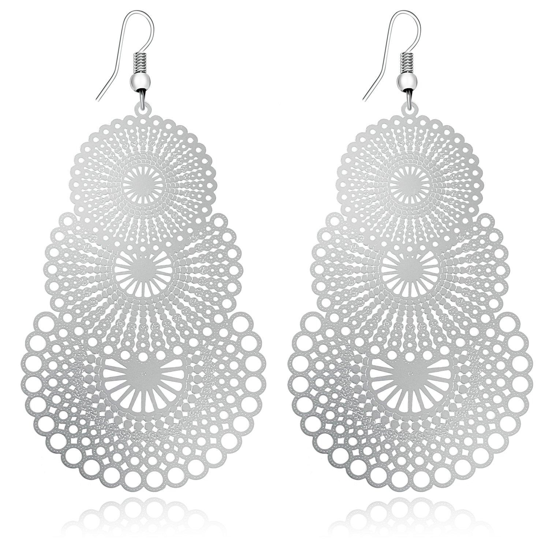 DMI Unique Jewelry Silver-Tone Alloy Hollow Out Flower Lightweight Bohemian Style Dangle Earrings