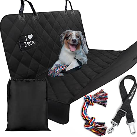 starling u0027s luxury dog car seat covers for backseat   new design  double stitched hammock amazon     starling u0027s luxury dog car seat covers for backseat      rh   amazon