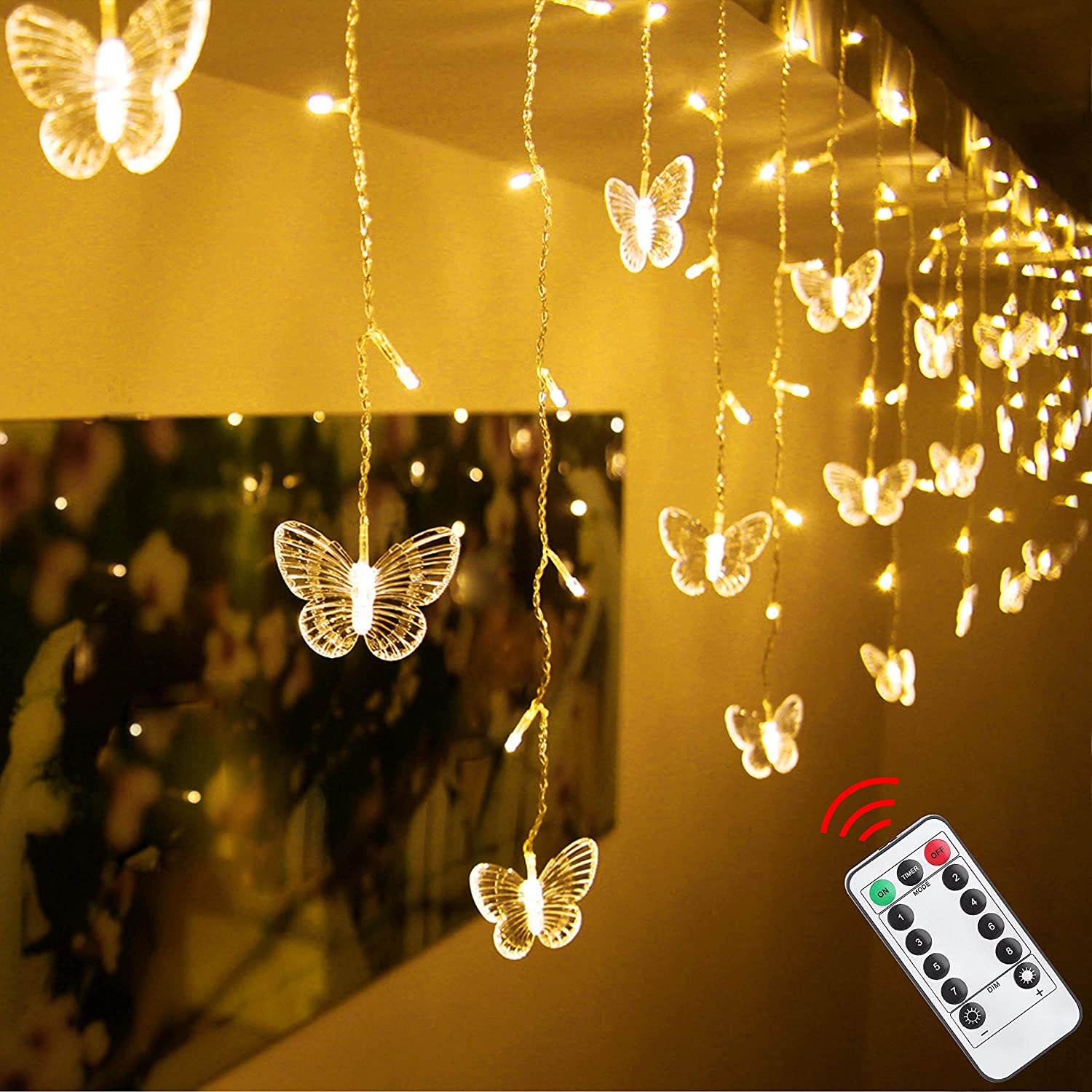 Decorman LED Curtain Lights 48 LED USB Powered 8 Modes Waterproof Window Twinkle String Lights with 10 Butterflies with Remote for Christmas Holiday Party Room Decor (4.9ft x 1.6ft, Warm White)