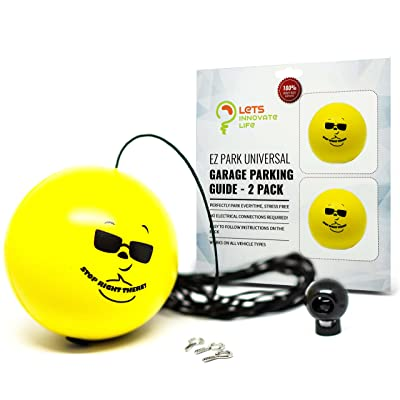 Double Garage Parking Aid - Ball Guide System. Simple to install adjustable parking assistant kit includes a retracting ball sensor assist solution. Perfect Garage Car Stop Indicator for all Vehicles: Automotive