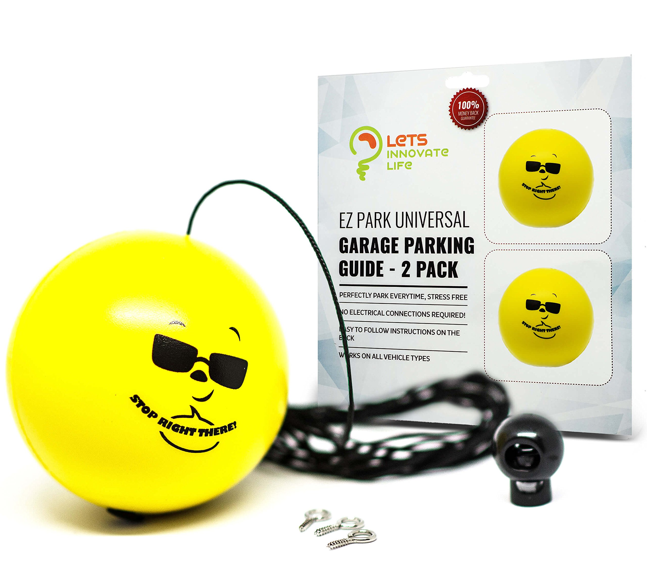 Double Garage Parking Aid - Ball Guide System. Simple to install adjustable parking assistant kit includes a retracting ball sensor assist solution. Perfect Garage Car Stop Indicator for all Vehicles by LetsInnovateLife (Image #1)
