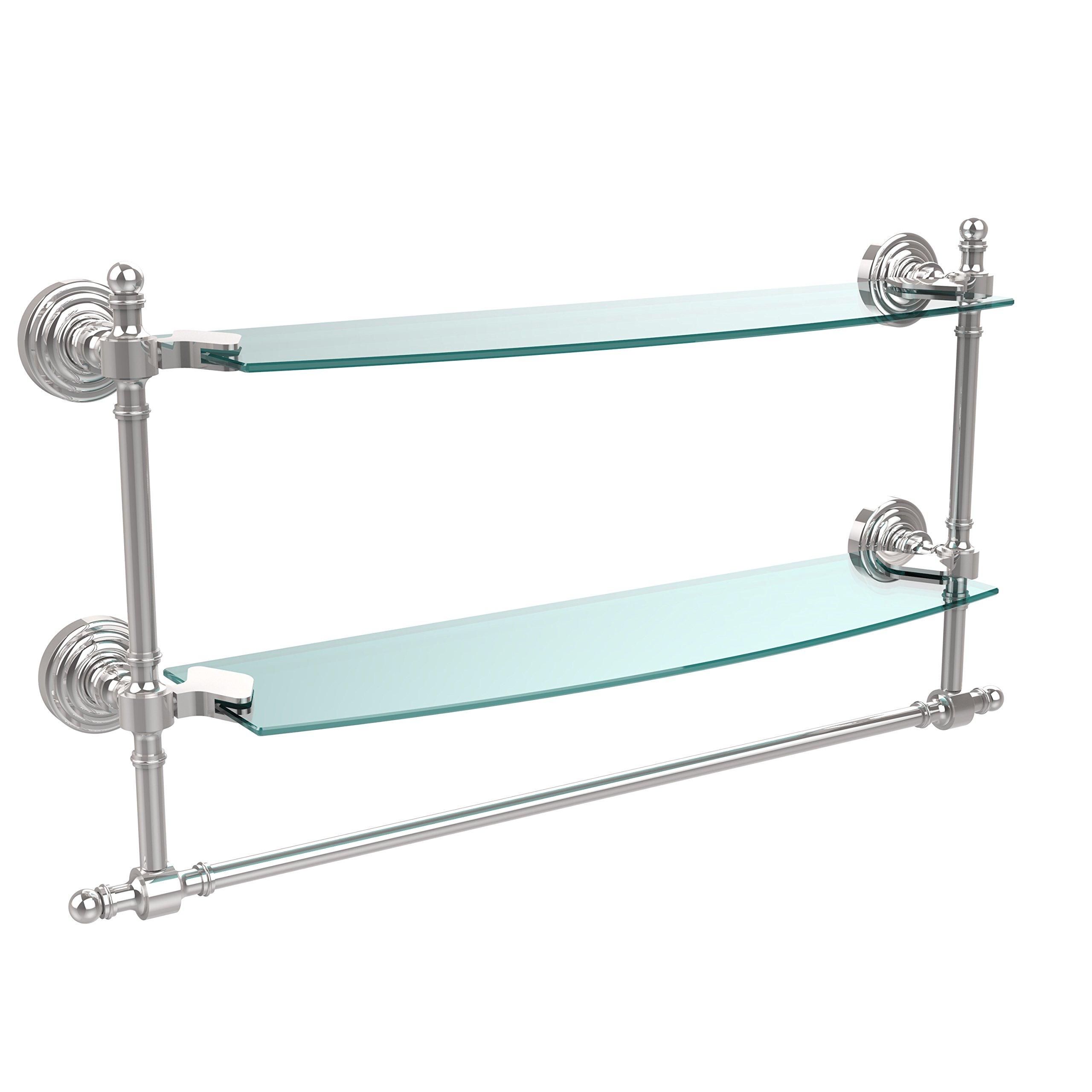 Allied Brass Double Shelf w/Towel Bar Polished Chrome