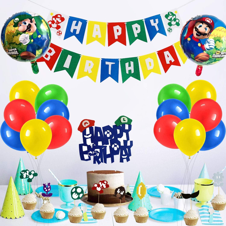 Mario Birthday Party Pack,Super Mario Birthday Party Supplies,Mario Balloons Party Supplies Decorations Super Mario Bros Happy Birthday Banner Decorations for Super Mario party supplies