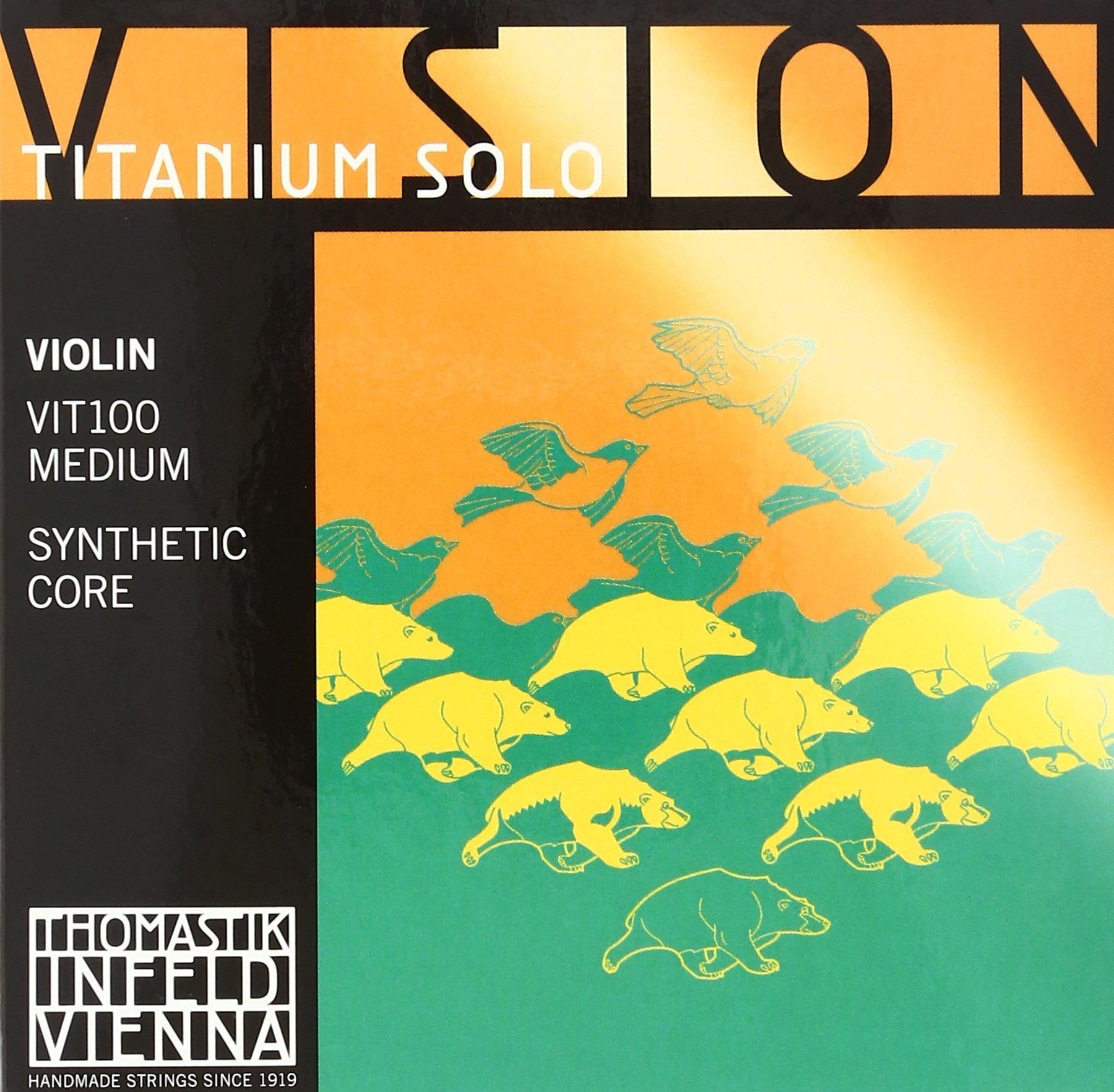 Thomastik-Infeld VIT100 Vision Titanium Solo Violin Strings, Complete Set, 4/4 Size, Synthetic Core