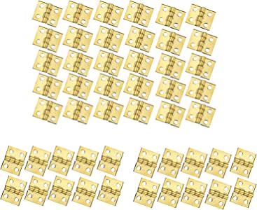 RZDEAL 50 PCS Mini Brass Hinge Hardware 180 Degree Rotation for Dollhouse Miniature Furniture Cabinet Closet(DIY)