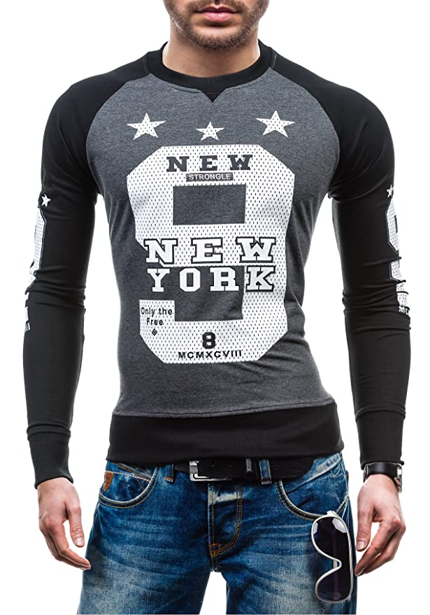 Herren Sweatshirt Rundhals Pullover Pulli Langarmshirt Classic BOLF 1A1 Motiv