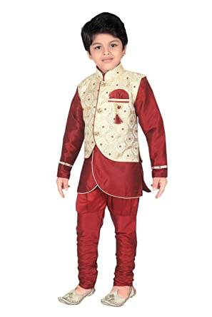 b84b77eef1 Amazon.com  ahhaaaa Kids Indian Ethnic Waistcoat Kurta and Breaches Set for  Boys  Clothing