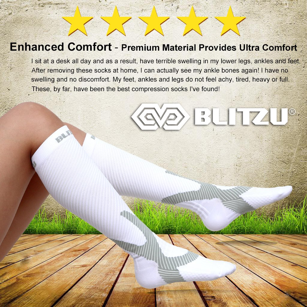 Blitzu Compression Socks 20-30mmHg for Men & Women BEST Recovery Performance Stockings for Running, Medical, Athletic, Edema, Diabetic, Varicose Veins, Travel, Pregnancy, Relief Shin Splint White L/XL by BLITZU (Image #3)