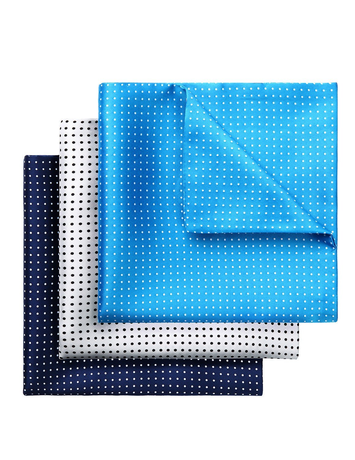 HISDERN 3 Pack Polka Dot Printed Double Sided Pocket Square Mens Handkerchief Hanky Set Wedding Party