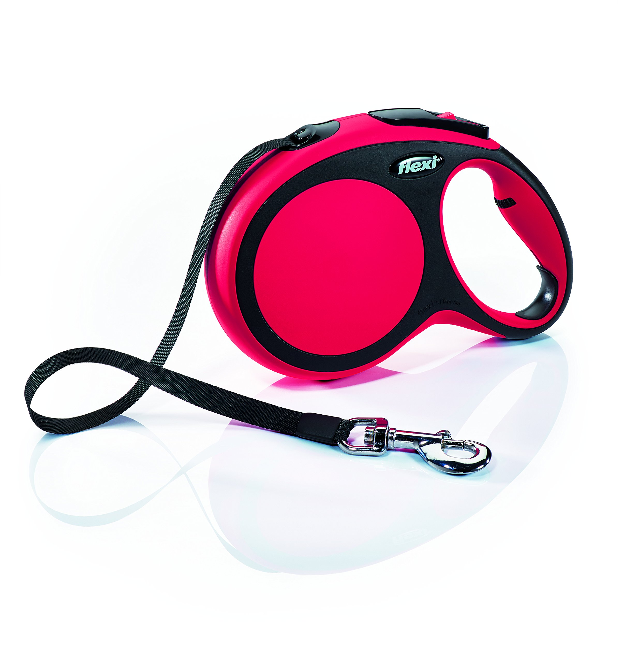 Flexi New Comfort Retractable Dog Leash (Tape), 26 ft, Large, Red by Flexi