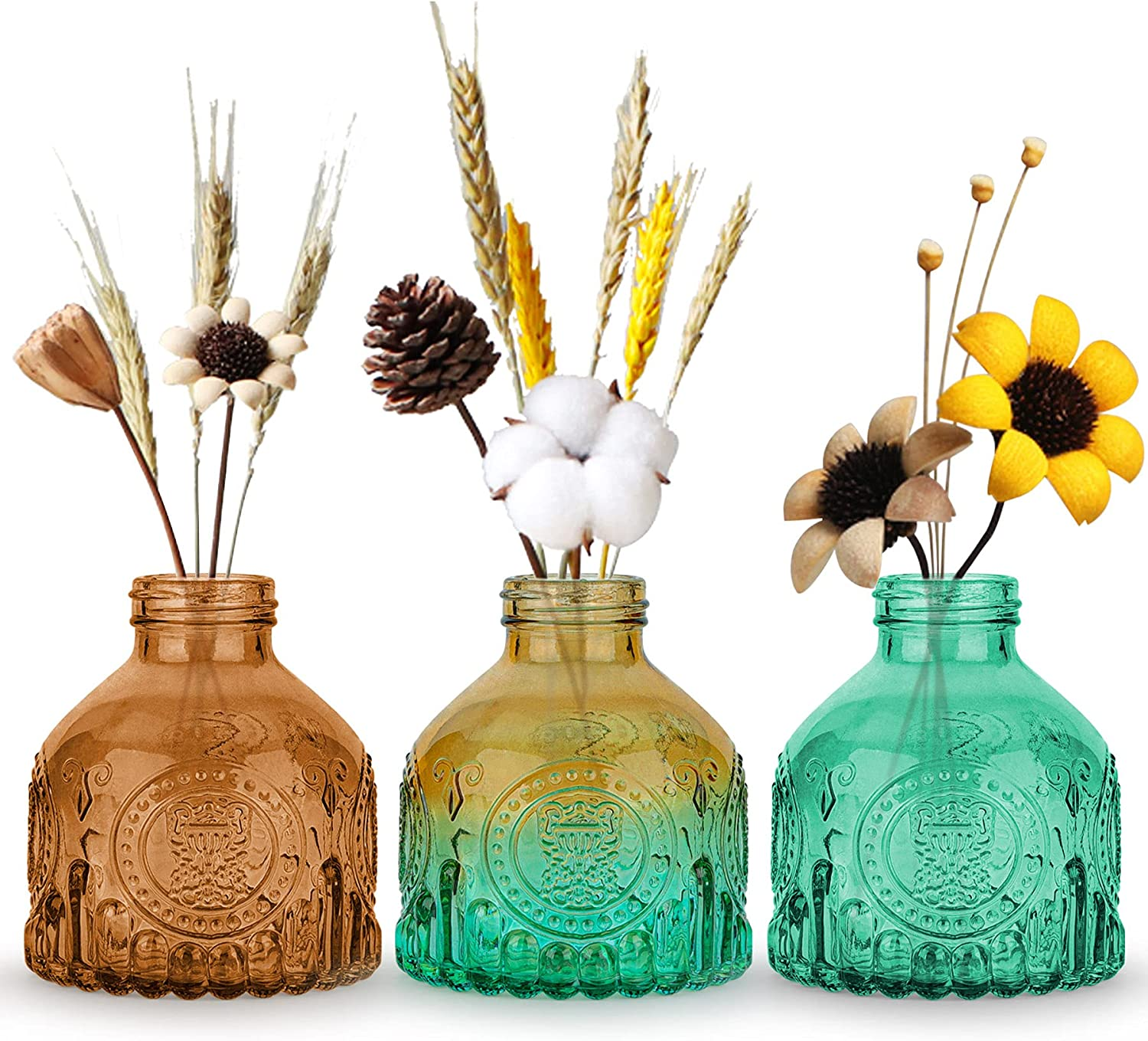 OppsArt Glass Bud Vases for Decor Set of 3, Small Colorful Decorative Vases for Farmhouse Fireplace, Modern Centerpiece Floral Decoration for Home Office Living Room Shelf Table, Vintage Plant Gift