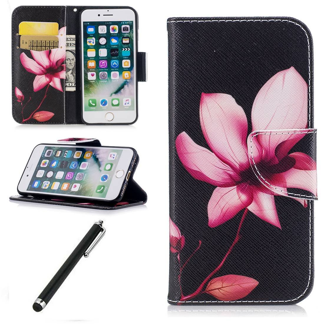 Beddouuk iPhone SE Flip Case, Wallet Case with Stand for iPhone 5/5S,[Lotus] Pattern PU Leather Protection Backcover Case Cover With Card Holder SlotFor iPhone SE/5/5S