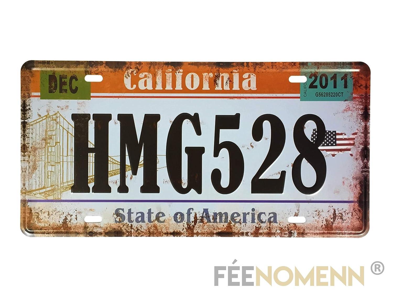 15x30cm Etat de Californie FEENOMENN Plaque M/étal Immatriculation Vintage Golden Gate Bridge