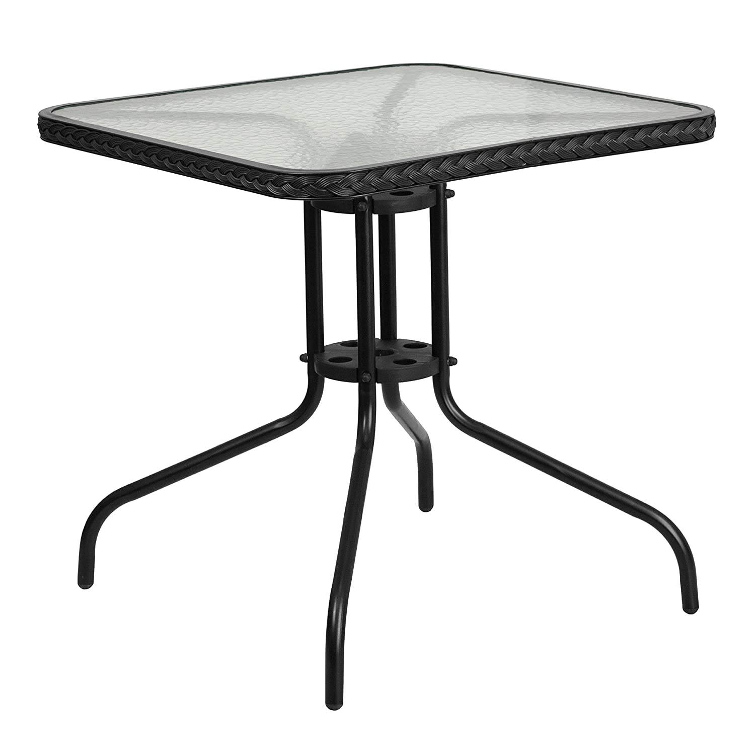 Flash Furniture 28'' Square Tempered Glass Metal Table with Black Rattan Edging