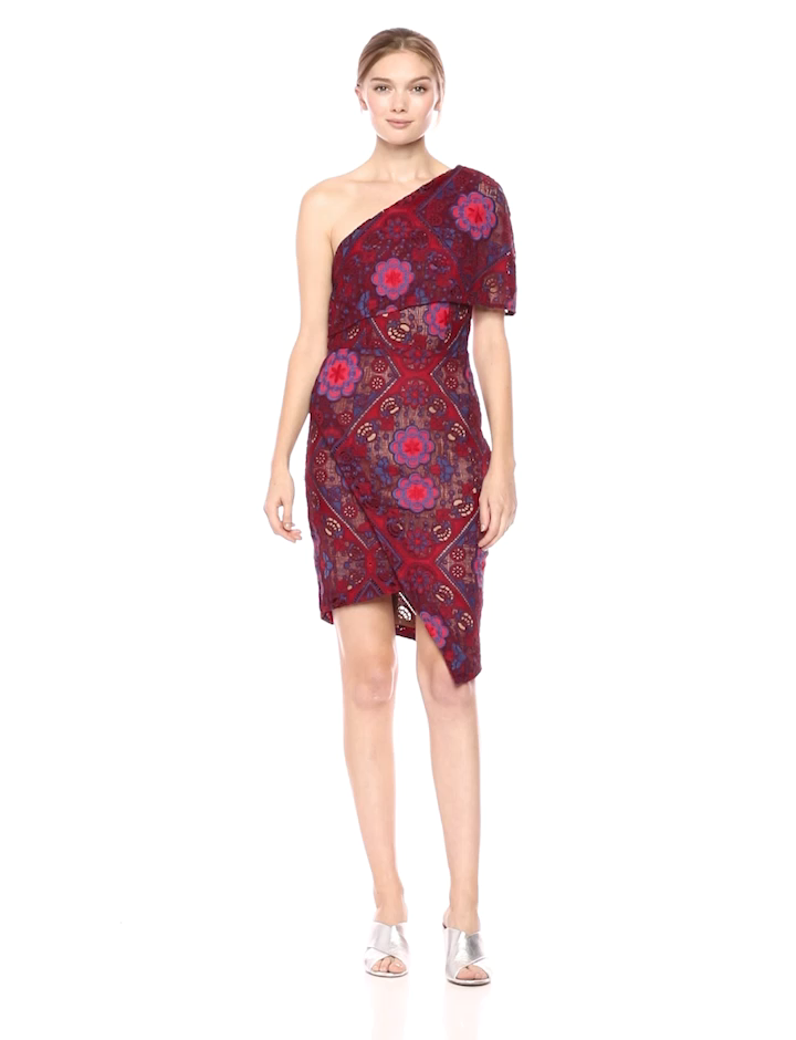 4998ccc5f8a9 Elliatt Women s Apparel Women s Cosmic One Shoulder Lace Short Wrap Dress  at Amazon Women s Clothing store