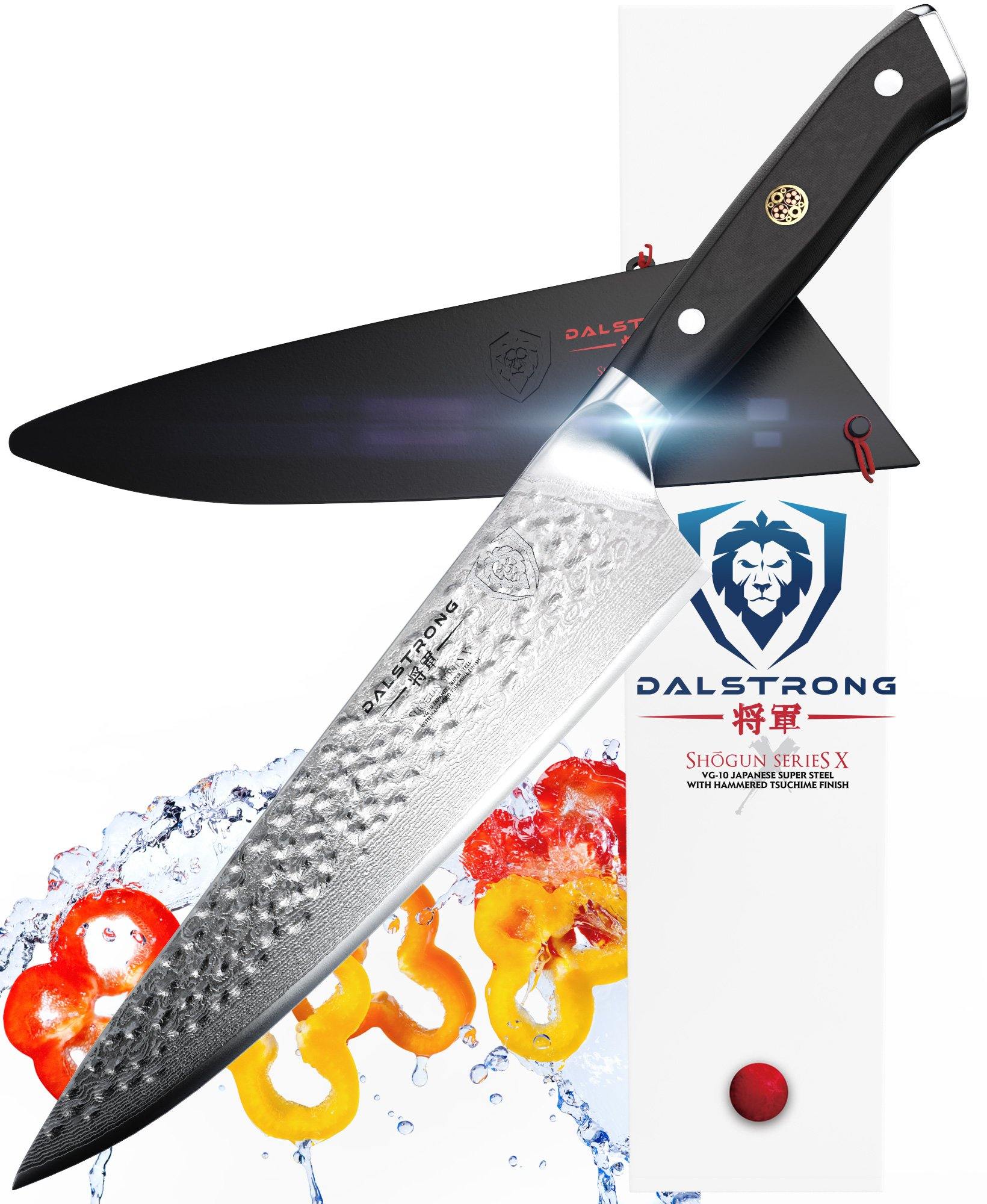 DALSTRONG Chef's Knife - 10.25'' - Large - Shogun Series X Professional Gyuto - Japanese VG10 67-Layers - Hammered Finish - Sheath by Dalstrong