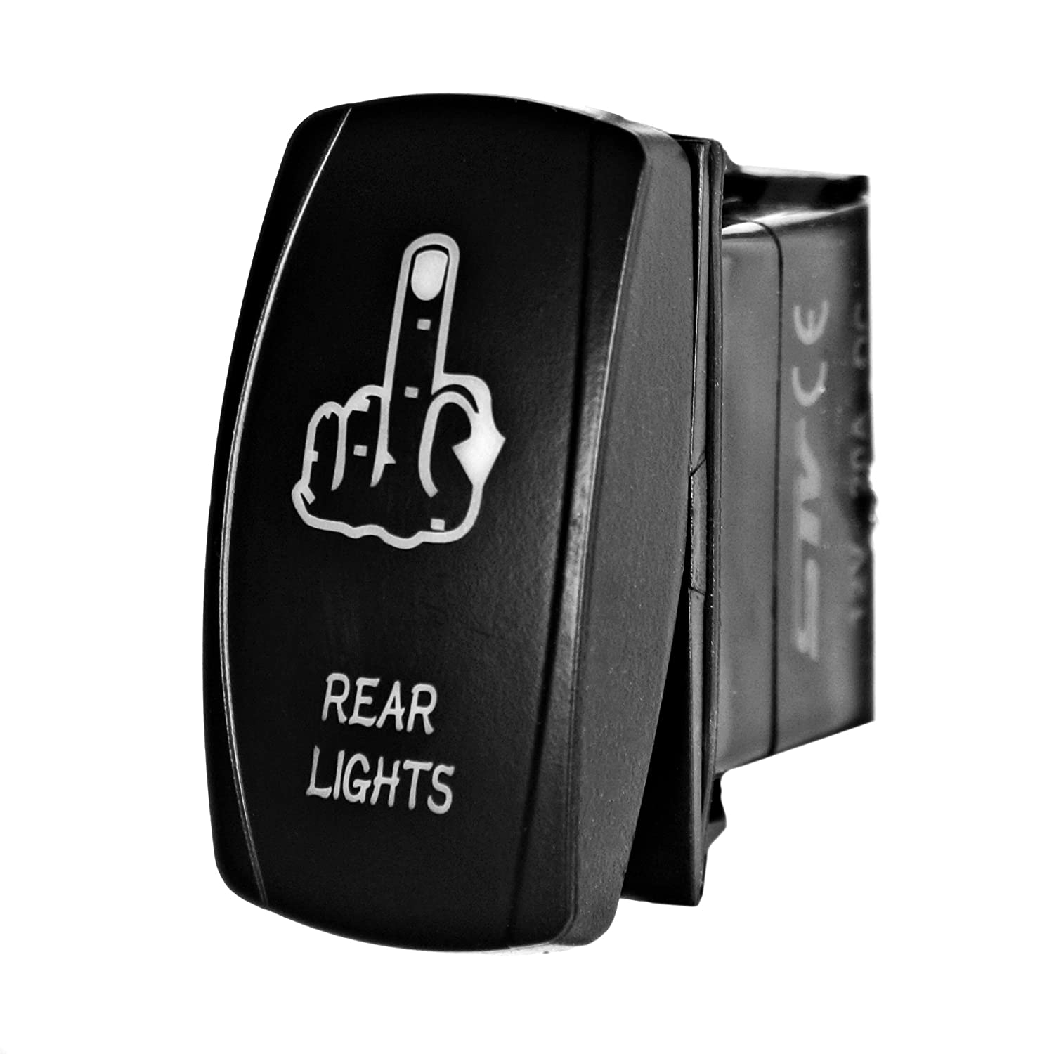Laser Rocker Switch 12 Volt red Bright Light Powersports - Universal On//Off MIDDLE FINGER REAR LIGHTS