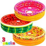JOYIN Inflatable Kiddie Pool, Watermelon Donuts Pizza 3 Ring Summer Fun Swimming Pool for Kids, Water Pool Baby Pool for…