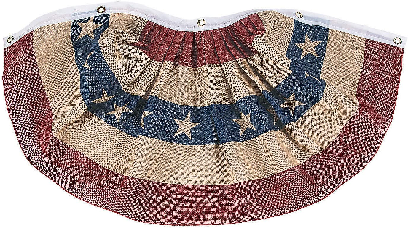 Fun Express USA Patriotic Burlap Bunting for Fourth of July - Rustic and Farmhouse Home Decor
