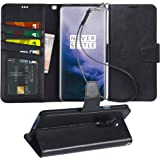 OnePlus 7 Pro Case, Arae PU Leather Wallet case for OnePlus 7 Pro with Wrist Strap and ID&Credit Cards Pocket - Black