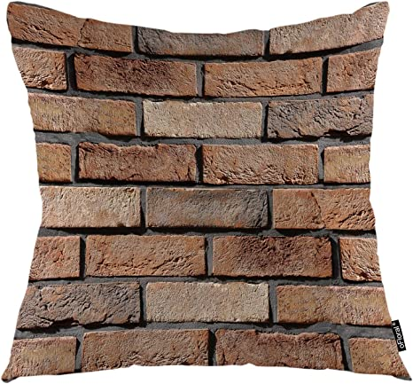 Amazon Com Ofloral Brick Throw Pillow Cover Stone Wall Bricks Strength Surface Decorative Square Pillow Case 18 X18 Pillowcase Home Decor For Sofa Bedroom Home Kitchen
