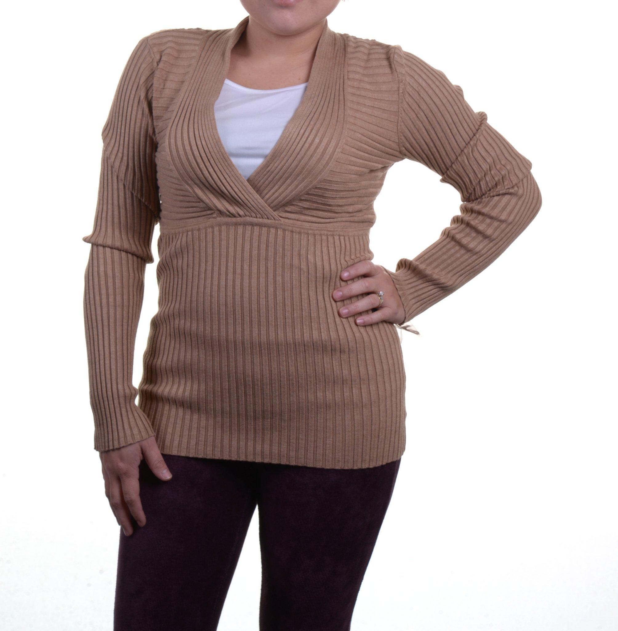 INC International Concepts Ribbed-Knit Surplice-Neck Long-Sleeve Top PET/L